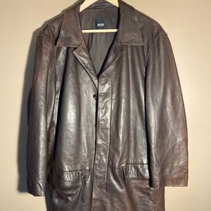Hugo Boss brown leather coat